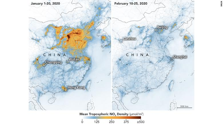 Carte pollution en Chine avant et après confinement